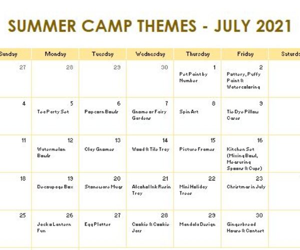 July camp themes