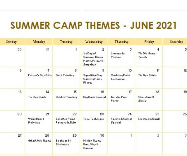 June Camp Themes